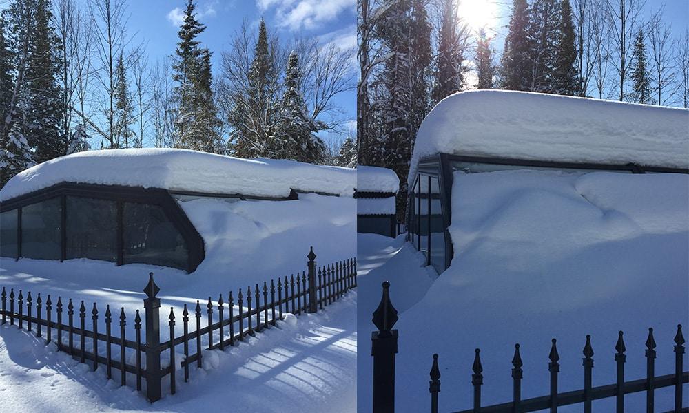 Hohe Poolüberdachung (Poolhalle) Arcadia - Hohe Poolbedeckung im Schnee in Kanada